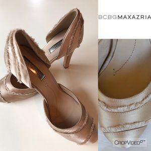 BCBGMAXAZRIA Amaris tan satin heels, size 10